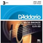 D'Addario 80/20 Bronze Acoustic Guitar Strings, Light, 12-53, 3 Sets, EJ11-3D