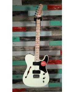 Squier Paranormal Carbronita Telecaster Thinline Electric Guitar, Olympic White, 037-7020-505