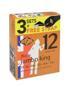 Rotosound 3 x Jumbo King Acoustic Guitar Strings sets including FREE strap Phosphor Bronze