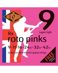 Rotosound R9 Roto  Electric Guitar Strings Set Nickel Wound - SuperLight Electric Strings 9-42 Roto Pinks