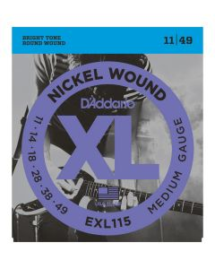 D'Addario XL Nickel Wound Electric Guitar Strings, Medium/Blues-Jazz, 011-049 EXL115