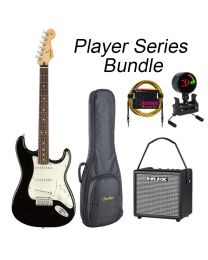 Fender Player Series Strat Electric Guitar PF BUNDLE with BAG, AMP, TUNER & LEAD.  Black
