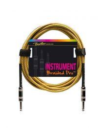 Boston Vintage Yellow Instrument Cable / Lead - 2 Metal Jacks - 6 Metre