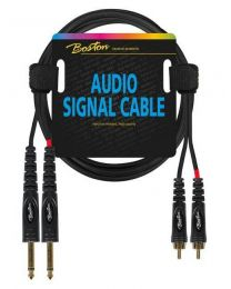 Boston audio signal cable, 2x RCA to 2x 6.3mm jack mono, 9.00mtr
