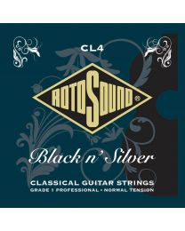 Rotosound CL4  Professional string set classic Black n' Silver rectified black nylon trebles & silverplated basses
