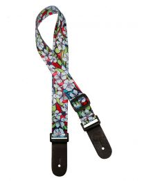 Gaucho Standard Series Ukulele Strap with Blue Flowers GSTU-80-BU