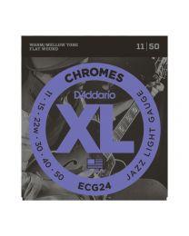 D'Addario XL Flatwound Chromes Electric Guitar Strings, Jazz Light, 11-50 ECG24