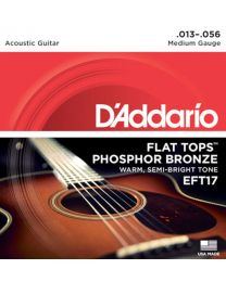 D'Addario Phosphor Bronze Flat Tops Acoustic Guitar Strings, Medium, 13-56 EFT17