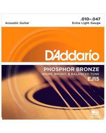 D'Addario Phosphor Bronze Acoustic Guitar Strings, Extra Light, 10-47, EJ15