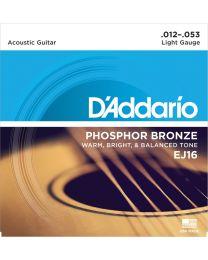 D'Addario Phosphor Bronze Acoustic Guitar Strings, Light, 12-53, EJ16