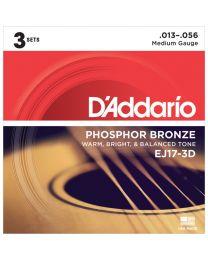 D'Addario Phosphor Bronze Acoustic Guitar Strings, Medium, 13-56, 3 Sets, EJ17-3D