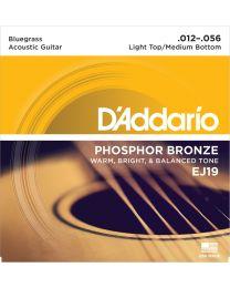 D'Addario Phosphor Bronze Acoustic Guitar Strings, Light Top/Medium Bottom, 12-56, EJ19