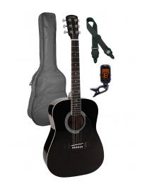 Nashville 3/4 Scale Steel String Acoustic Guitar Pack - Black with Bag GSD-6034-BK Black