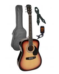 Nashville 3/4 Scale Steel String Acoustic Guitar Pack - Sunburst with Bag GSD-6034-SB Sunburst