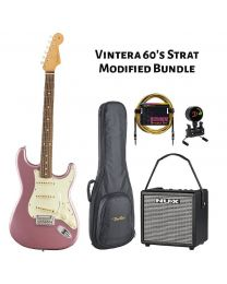 Fender Vintera 60s Strat Modified PF Electric Guitar BUNDLE with BAG, AMP, TUNER & LEAD. Burgundy Mist Metallic