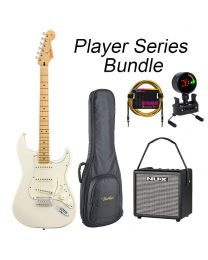 Fender Player Series Strat Electric Guitar- Maple Neck - MN BUNDLE with BAG, AMP, TUNER & LEAD. Polar White