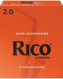 Rico Alto Sax Reeds by D'Addario, Strength 2.0, 10 pack.