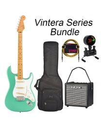 Fender Vintera 50s Strat MN Electric Guitar BUNDLE with BAG, AMP, TUNER & LEAD. Sea Foam Green
