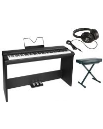 Medeli Digital Stage Piano Bundle with Stand, Pedals, Headphones and bench, SP201+/BK  Piano Package