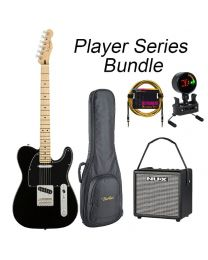 Fender Player Series Tele Electric Guitar MN BUNDLE with BAG, AMP, TUNER & LEAD. Black