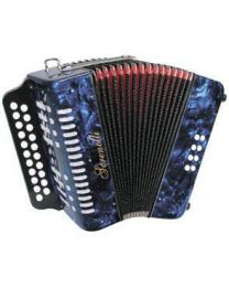 Serenelli 2 Row BC button accordion - Blue Finish