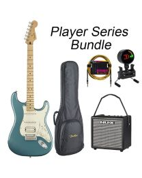 Fender Player Series Strat Electric Guitar HSS BUNDLE with BAG, AMP, TUNER & LEAD. Tidepool Blue