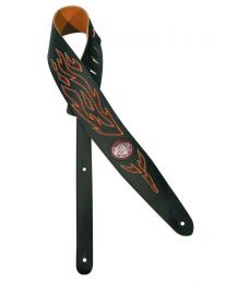 Gaucho Stitched Guitar Strap - Black with Flames