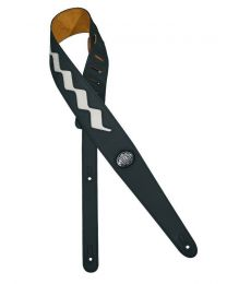 Gaucho Two Tone Guitar Strap, Black & White Zig Zag