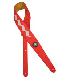 Gaucho Two Tone Guitar Strap, Red & White Zig Zag
