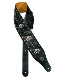 Gaucho Biker Series Guitar Strap Black with Skulls GST-288