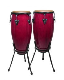 "Hayman 10""+11"" - Conga Set with Basket Style Stand - Wine Red"