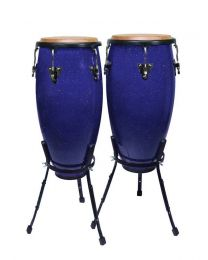 "Hayman 10""+11"" - Conga Set with Basket Style Stand - Sparkling Blue"