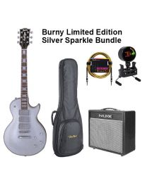 Burny Limited Edition RLC-60 Electric Guitar BUNDLE with BAG, AMP, TUNER & LEAD. Sparkling Silver