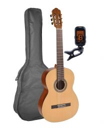 Salvador Classical Guitar Pack 4/4 Junior Model with Bag and Tuner CS-244