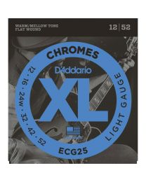 D'Addario Chromes Flat Wound Electric Guitar Strings, 12-52 ECG25