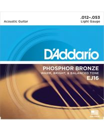 D'Addario Phosphor Bronze Acoustic Guitar Strings, Light, 12-53, EJ16