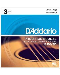 D'Addario Phosphor Bronze Acoustic Guitar Strings, Light, 12-53, 3 Sets, EJ16-3D