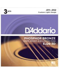 D'Addario Phosphor Bronze Acoustic Guitar Strings, Custom Light, 11-52, 3 Sets EJ26-3D