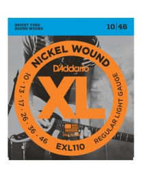 D'Addario XL Nickel Wound Electric Guitar Strings, Regular Light, 10-46, EXL110