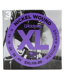 D'Addario XL Nickel Wound Electric Guitar Strings, Medium/Blues-Jazz, 011-049, 3 Sets EXL115-3D