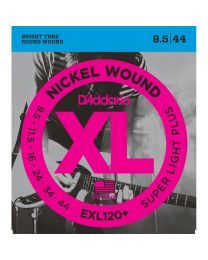 D'Addario Nickel Wound Electric Guitar Strings, Super Light Plus, 9.5-44 EXL120+