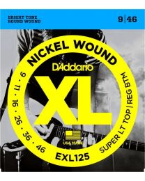 D'Addario Nickel Wound Electric Guitar Strings, Super Light Top/ Regular Bottom, 9-46 EXL125