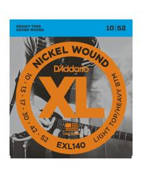 D'Addario Nickel Wound Electric Guitar Strings, Light Top/Heavy Bottom, 10-52 EXL140