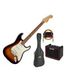 Fender Player Series Strat Electric Guitar - PF 3TS  BUNDLE with BAG, AMP & LEAD. - 3 tone sunburst