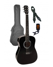 Nashville 3/4 Scale Steel String Acoustic Guitar Pack - Black with Bag GSD-6034-BK Black