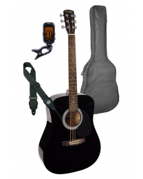 Nashville Acoustic Guitar Pack - Black with Bag Strap and Tuner GSD-60-BK