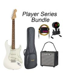 Fender Player Series Strat Electric Guitar PF BUNDLE with BAG, AMP, TUNER & LEAD. Polar White