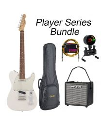 Fender Player Series Tele Electric Guitar PF BUNDLE with BAG, AMP, TUNER & LEAD. Polar White