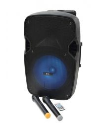 QTX PAL12 Portable PA unit with LEDs, Wireless microphones, Media Player and Bluetooth Connectivity