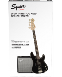 Squier Affinity PJ Bass Pack w/ Rumble 15 Amp & Accessory Pack - Black